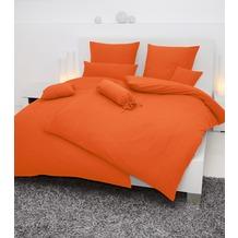 Janine Mako-Soft-Seersucker, uni Piano orange Bettbezug 135x200, 80x80