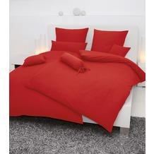 Janine Mako-Soft-Seersucker, uni Piano rot Bettbezug 135x200, 80x80
