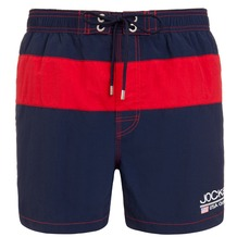 Jockey Swim / Beach Short, uni mit Kontrast und Druck, 2 seitliche Taschen, Seitenlänge incl. Bund in Gr. M = 37cm navy S