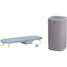 Joseph Joseph Wäscheset Pocket™ Tischbügelbrett mit Tota™ 60-Liter Wäschekorb - Grau/Gelb
