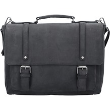 Jost Salo Aktentasche Leder 38 cm Laptopfach black