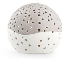 Kähler Teelicht Kugel NOBILI, taupe-weiß 14 cm