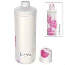 Kambukka Isolierflasche Reno Insulated Pink Blossom rosa Blüten MIT GRAVUR (z.B. Namen) Thermo-Flasche 500ml