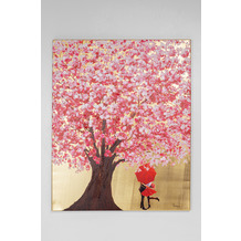 Kare Design Bild Touched Flower Couple Gold Pink 100x80