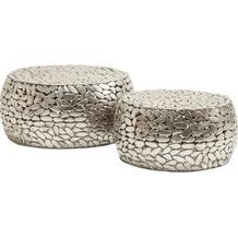 Kare Design Couchtisch Pebbles Deluxe Silber (2/Set)
