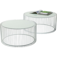 Kare Design Couchtisch Wire White 2er Set