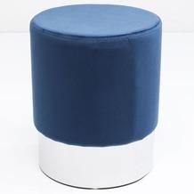 Kare Design Hocker Cherry Blau Silver Ø35cm