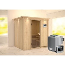 Karibu Bodin Fronteinstieg Sauna mit Dachkranz und bronzierter Ganzglastür und 9 kW Bio-Kombiofen, externe Steuerung