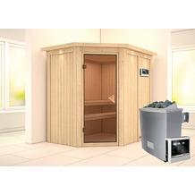 Karibu Carin Eckeinstieg Sauna mit Dachkranz und bronzierter Ganzglastür und 9 kW finnischem Ofen, externe Steuerung