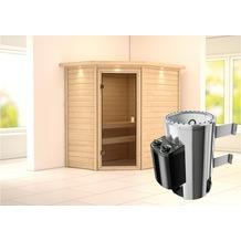 Karibu Cilja Eckeinstieg Sauna mit Dachkranz und bronzierter Ganzglastür und 9 kW finnischem Ofen, interne Steuerung