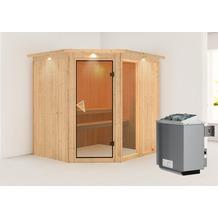 Karibu Fiona 2 Eckeinstieg Sauna mit Dachkranz und 9 kW finnischen Ofen, interne Steuerung