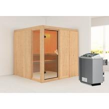 Karibu Helin Fronteinstieg Sauna mit 9 kW finnischen Ofen, interne Steuerung