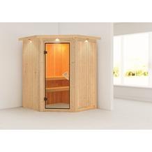 Karibu Larin Eckeinstieg Sauna mit Dachkranz und bronzierter Ganzglastür, ohne Ofen