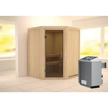 Karibu Larin Eckeinstieg Sauna mit Graphit-Ganzglastür und 9 kW finnischem Ofen, interne Steuerung