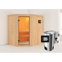 Karibu Saja Eckeinstieg Sauna mit bronzierter Ganzglastür und 9 kW Bio-Kombiofen, externe Steuerung