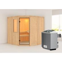 Karibu Simara 1 Eckeinstieg Sauna mit Fenster und 9 kW finnischen Ofen, interne Steuerung