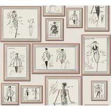 Karl Lagerfeld Wallpaper Vliestapete Sketch grau rosa weiß 378464 10,05 m x 0,53 m
