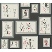 Karl Lagerfeld Wallpaper Vliestapete Sketch grau rot weiß 378461 10,05 m x 0,53 m