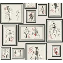 Karl Lagerfeld Wallpaper Vliestapete Sketch grau rot weiß 378463 10,05 m x 0,53 m