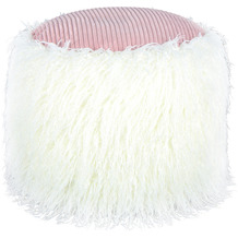 Kayoom Fellpouf Bobtail 125 Weiß / Rosa