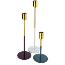 Kayoom Kerzenhalter 3er Set Saga 190 Gold / Pflaume / Hellgrau / Petrol