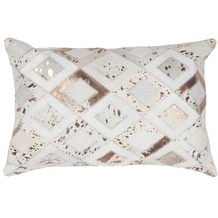 Kayoom Lederkissen Spark Pillow 110 Elfenbein / Chrom 40 x 60 cm