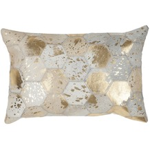 Kayoom Lederkissen Spark Pillow 210 Elfenbein / Gold 40 x 60 cm