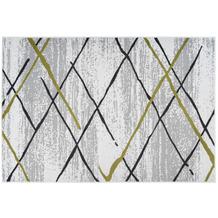 Kayoom Teppich Vancouver 110 Weiß / Grau / Khaki 120 x 170 cm