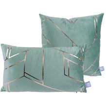 Kenda Sand Dekokissen Prisma 125 2er-Set Mint / Gold