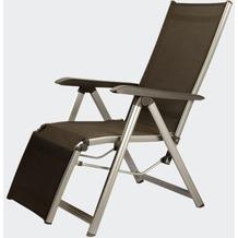 Kettler Relax Basic Plus, Gestell: silber, Textil: anthrazit, Rücken mehrfach verstellbar, L 91 x B 61 x H 109 cm