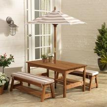Kidkraft Gartentischset mit Bank, Kissen und Sonnenschirm - Beige-weiß gestreift