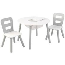 Kidkraft Runder Aufbewahrungstisch mit zwei Stühlen - Weiß/Grau