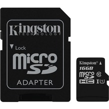 Kingston microSDHC Class 10 UHS-I Card + SD Adapter, 16GB