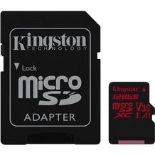 Kingston microSDXC 100R/80W U3 UHS-I V30 A1 Card+ SD Adapter,128GB
