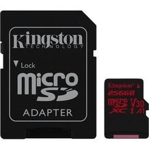 Kingston microSDXC 100R/80W U3 UHS-I V30 A1 Card+ SD Adapter,256GB