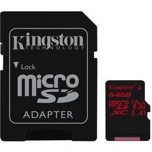Kingston microSDXC 100R/80W U3 UHS-I V30 A1 Card + SD Adapter,64GB