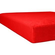 "Kneer Spannbettlaken Flausch-Frottee ""Qualität 10"" Farbe 42 rubin Bettlaken 150 x 250 cm"