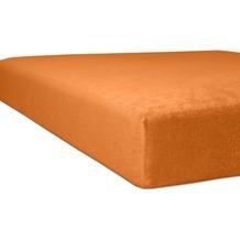 """Kneer Spannbetttuch Flausch-Biber """"Qualität 80"""" Farbe 65 orange 180-200 cm x 200 cm"""