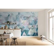 "Komar Digitaldruck Fototapete auf Vlies ""Triangles Blue"" 400 x 250 cm"