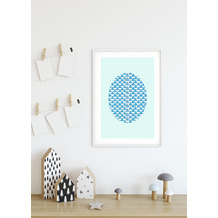 Komar Wandbild Shelly Patterns Aqua 30 x 40 cm