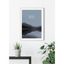 Komar Wandbild Word Lake Hush Steel 30 x 40 cm