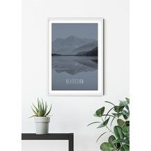 Komar Wandbild Word Lake Reflection Steel 30 x 40 cm