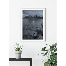 Komar Wandbild Word Lake Silence Steel 30 x 40 cm