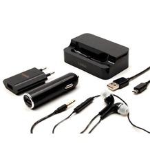 Konkis 5in1 - KFZ Ladekabel + Netzteil + Datenkabel + Kopfhörer + Tischlader - Micro USB
