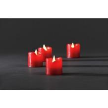 KONSTSMIDE LED Echtwachskerzen 4er-Set, rot, zerlaufene Wachsoptik, mit an/aus Schalter, 4 warm weiße Dioden, batteriebetrieben, Innen, 4 x CR2032 3V (inkl.)
