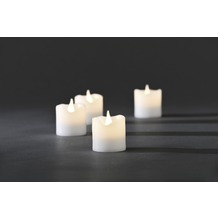 KONSTSMIDE LED Echtwachskerzen 4er-Set, weiß, zerlaufene Wachsoptik, mit an/aus Schalter, 4 warm weiße Dioden, batteriebetrieben, Innen, 4 x CR2032 3V (inkl.)