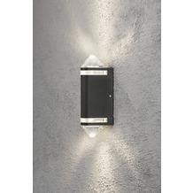 KONSTSMIDE Modena Aites II Wandleuche Up & Down, schwarz lackiertes Aluminium, klares Acrylglas