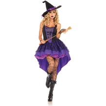 Leg Avenue 2Pc. Broomstick Babe Costume Set With Dress Lace Overlay Skirt And Hat Ribbon purple/black 36-38