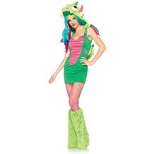 Leg Avenue 2 tlg Kostüm Set Zauber Drachen Kleid mit Mütze und Drachenschwanz und Klettband Flügel  grün 38-40