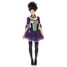 Leg Avenue 3Pc. Frankie's Bride Costume Set With Dress With Tulle Skirt, Bow Back And Neck Piece purple 38-40